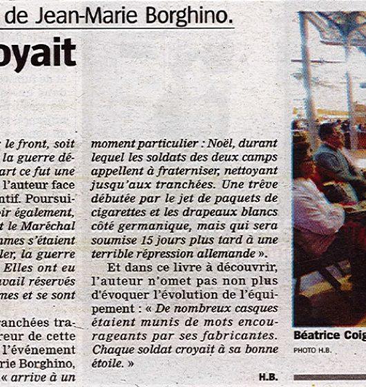 Article journal presse- «Du sang sur les bleuets» Borghino