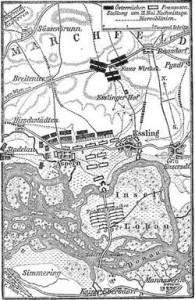 Plan de la bataille d'Essling