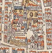 Plan de Paris vers 1550 abbaye St-Martin des Champs