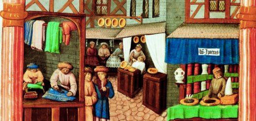 Rue marchande au Moyen Âge