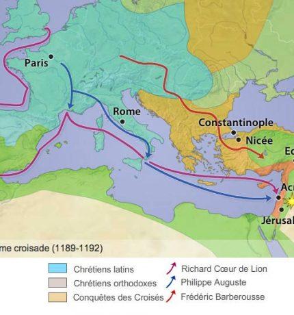 Carte de la Troisième Croisade-1189-1192