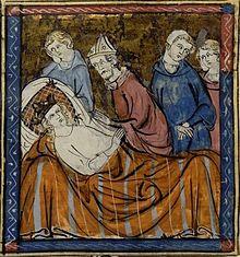 Louis IX malade prononce les voeux de partir en croisade