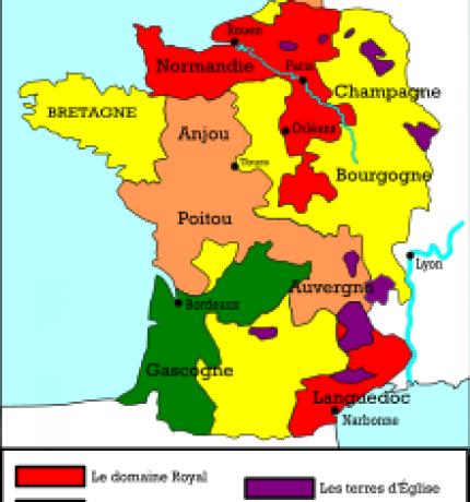 Carte de France à la mort du roi en 1270