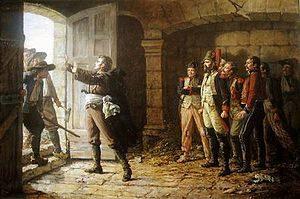 D'Elbée protégrant les soldats républicains après la bataille de Chemillé.