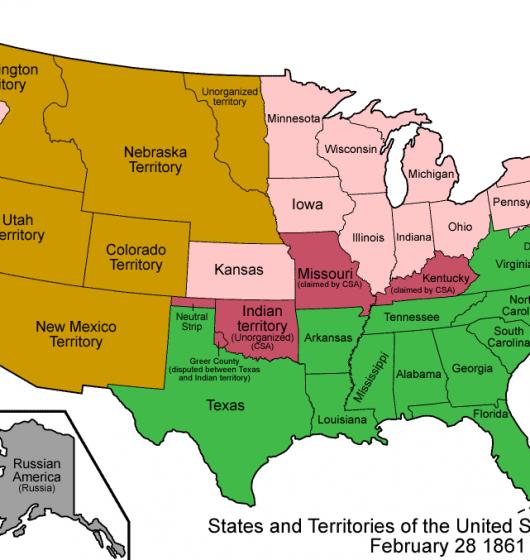 Carte- des- Etats-Unis -en- 1861