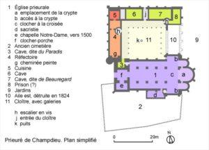 Plan du prieuré de Champdieu