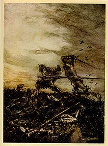 Combat entre Arthur et Mordred