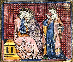 Hommage au roi Arthur, enluminure du 14ème siècle