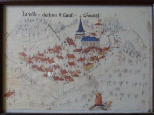 « La ville et château de Saint-Bonnet », dessin extrait de Guillaume Revel, Armorial du Forez