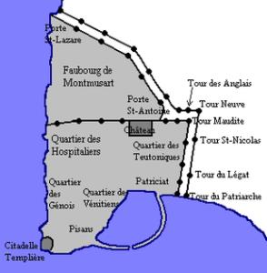 Plan de Saint-Jean-d'Acre au 12ème siècle