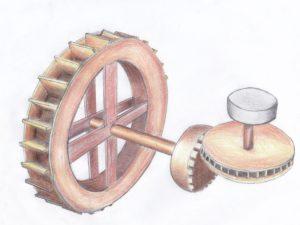 Mécanisme antique-Dessin d'Eric Cheucle