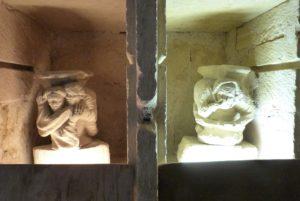Le Parloir- niche à droite deux personnes enlacées-à doite un personnage qui semble se boucher le nez